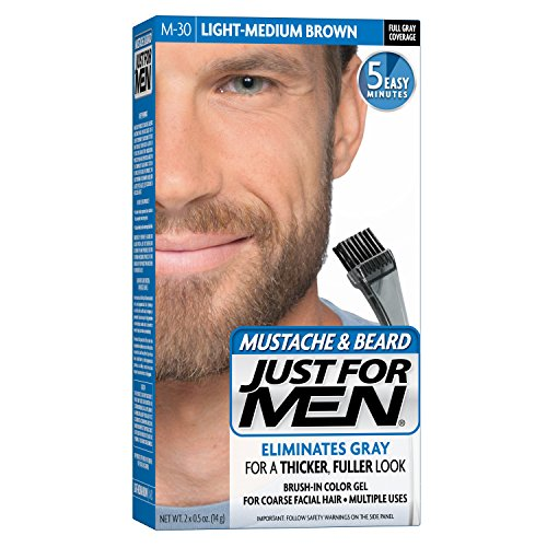 Just For Men Mustache and Beard Brush-In Color Gel, Light Medium Brown (Pack of 3) (Scale Men)