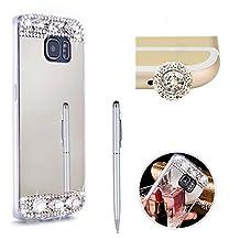 SKYXD For Samsung Galaxy S6 Edge Case,Luxury Bling Diamond Rhinestone Frame Glitter Mirror Makeup Soft Slim Fit Silicone Gel Case Cover for Samsung Galaxy S6 Edge +1x Touch Stylus + 1x Cute Dust Plug,Silver