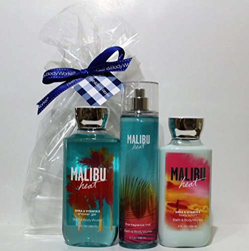 Bath & Body Works ~ Signature Collection ~ Malibu Heat ~ Shower Gel ~ Fine Fragrance Mist & Body Lotion ~ Trio Gift Set