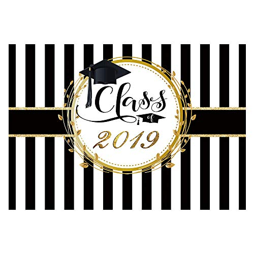 Funnytree 7x5ft Graduation Party Backdrop Class of 2019 Black and White Stripes Photography Background Congrats Grad Prom Decorations Photo Studio Booth Props Cake Table Banner