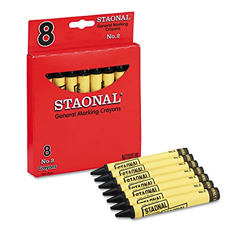 Crayolaamp;reg; - Staonal Marking Crayons, Black, 8/Box - Sold As 1 Box - Permanent and Waterproof Crayons are Wax.