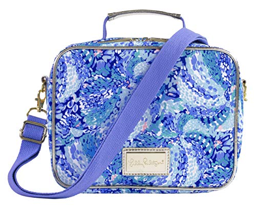 Lilly Pulitzer Thermal Insulated Lunch Bag with Adjustable/Removable Shoulder Strap, Wave After Wave