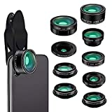 Cell Phone Camera Lens, Kaiess 9 in 1 Wide Angle Lens,Macro Lens,Fisheye Lens,Telephoto Lens,CPL Lens, Kaleidoscope and Starburst Lens Compatible with iPhone,Samsung,Most Andriod Phones