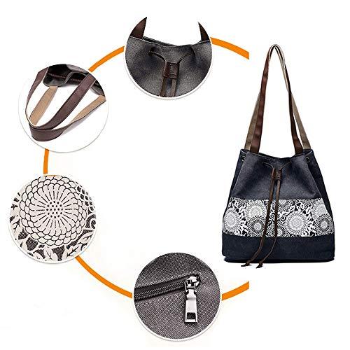Drawstring Canvas Vintage Bag Ladies Bohemian Black Handbag Women's Bag Cotton Hobo Canvas Bvane Totes Shoulder Shoulder gnt488A