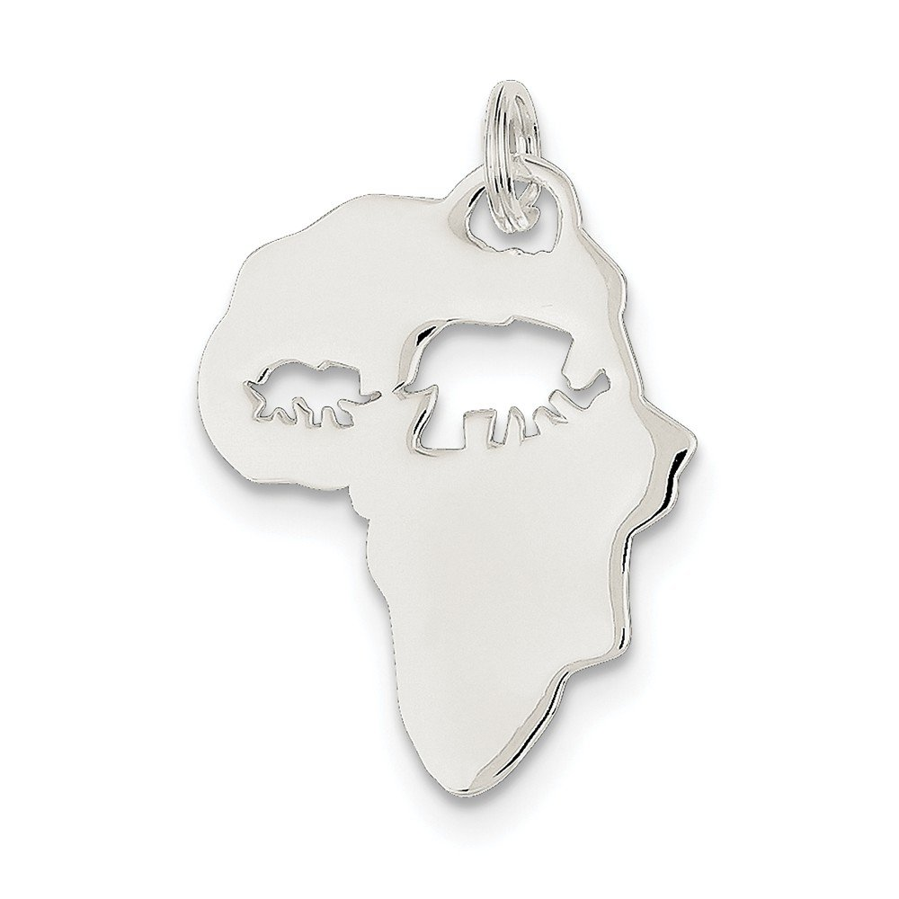 Box or Curb Style Chain Necklace Sterling Silver Map of Africa with Elephant Cutouts Charm on Rope