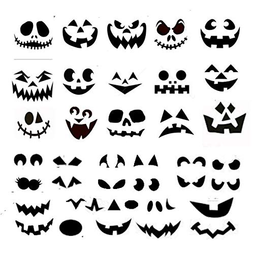Gustave 15 Complete JackoLantern face Decals 25 Extra Stickers for nomess Pumpkins DIY Halloween Decorations -