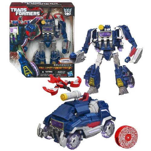 Transformers Cybertron Hasbro (Hasbro Year 2012 Transformers Generations Fall of Cybertron Series 01 Voyager Class 7-1/2 Inch Tall Robot Action Figure Set #001 - Decepticon SOUNDWAVE with Blaster Pistol and LASERBEAK Data Disc Figure (Vehicle Mode: Communications Truck))