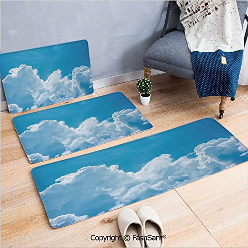 FashSam 3 Piece Non Slip Flannel Door Mat Crystal Clouds in The Sky Heavenly Life Hope Symbol Surface of Planetary Body Image Indoor Carpet for Bath Kitchen(W15.7xL23.6 by W19.6xL31.5 by W17.7xL53) -