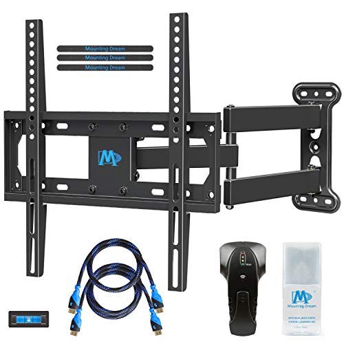 Mounting Dream MD2377-KT TV Wall Mount Bracket Kit with Stud Finder, 2 HDMI Cables, Magnetic Bubble Level and Anti-Static Screen Cleaning Gel for TVs up to 60lbs, 26-55 inches and VESA 400x400mm by Mounting Dream