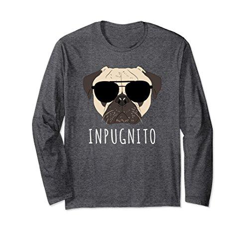 Unisex INPUGNITO Pug Wearing Aviator Glasses Long Sleeve T-Shirt Small Dark - Size Aviator Sunglasses Chart