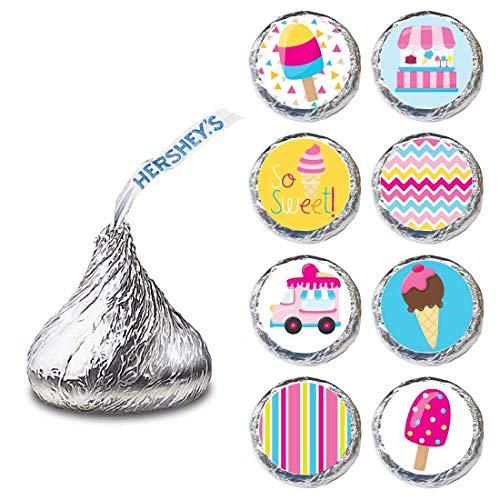 Ice Cream Label for HERSHEY'S KISSES® chocolates - Sweet Shop Candy Sticker Party Favor - Set of 240