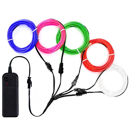 Zitrades EL Wire Neon Lights Kit with Portable AA Battery Inverter for Halloween Christmas Party Decoration (White, Blue, Red, Green, Pink, 5 by 1-Meter)