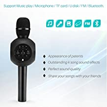 AOZBZ X7 Magic Bluetooth Karaoke Microphone Wireless Professional Player Multi-function K Song Speaker With Carring Case for Family Gathering KTV,Outdoor Camping,Party