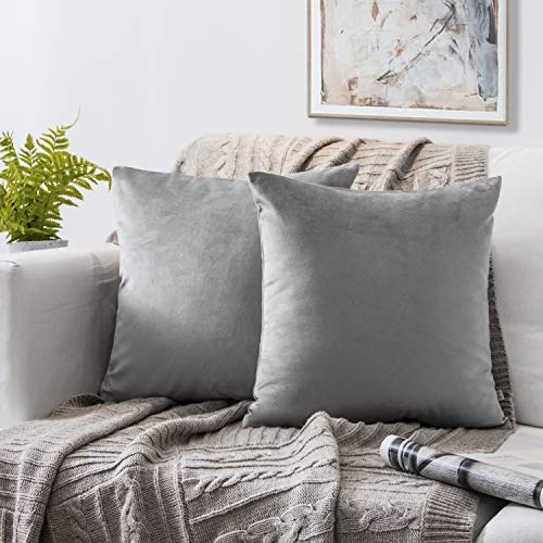 Phantoscope Set of 2 Soft Cozy Velvet Throw Pillow Solid Square Cushion Cover Mist Grey 18 x 18 inches 45 x 45 cm ()