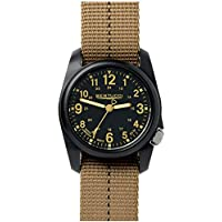 Bertucci DX3 Field Resin Watch, Dash-Striped Drab Nylon Strap, Black Dial - 11041