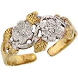 Two-Toned 10k Real Gold Single Rhodium Floral Design Ladies Toe Ring