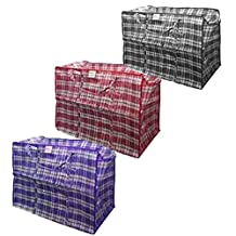 """Set of 8 Plastic Checkered Storage Laundry Shopping Bags Variety Pack W. Zipper & Handles Assorted Sizes & Colors. Set includes 2 of each of the following: Jumbo=27""""x25""""x7.5""""; Extra-Large=23.5""""x23""""x5.5""""; Large=19""""x19""""x4""""; Medium=19""""x17""""x6"""""""