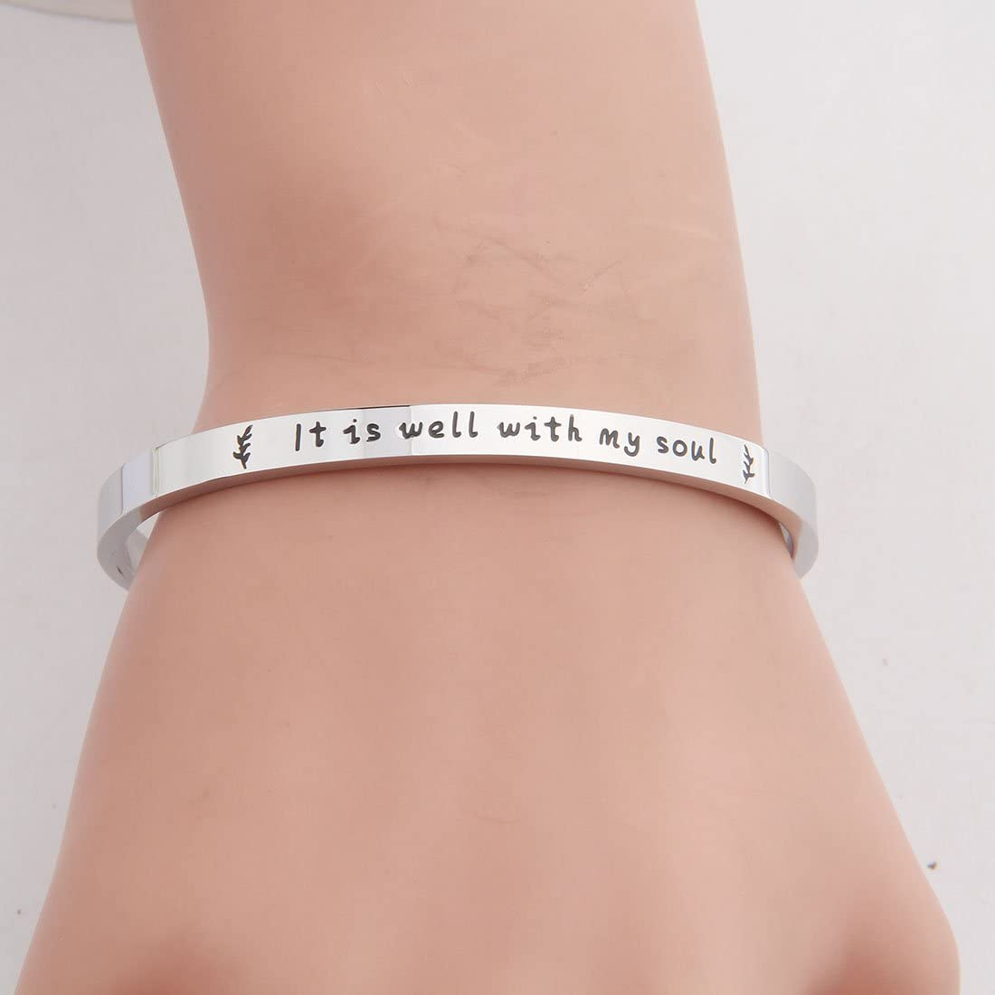 KUIYAI It is Well with My Soul Bracelet Scripture Bracelet Inspirational Religious Faith Jewelry