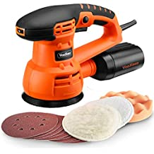 """VonHaus 5"""" Inch Random Orbit Sander and Polisher with 6 Variable Speed, 13000 RPM, Dust Collector System - Includes 9 Sanding Paper Pads, 3 Polishing Pads"""