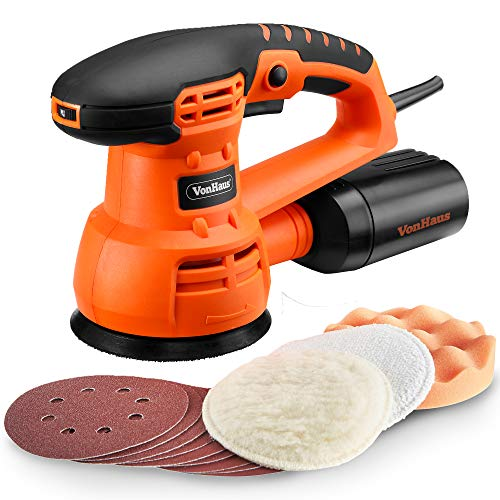 VonHaus 5' Inch Random Orbit Sander and Polisher with 6 Variable Speed, 13000 RPM, Dust Collector System - Includes 9 Sanding Paper Pads, 3 Polishing Pads
