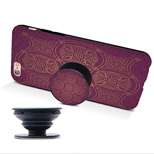 iPhone 6/6s Case with Collapsible Grip&Stand/Purple Mandala/Persian Ornamental Lace Pattern Traditonal Authentic Arabic Folkloric Boho Design/Gold/Compatible with iPhone6/6s(TPU Case/Black)