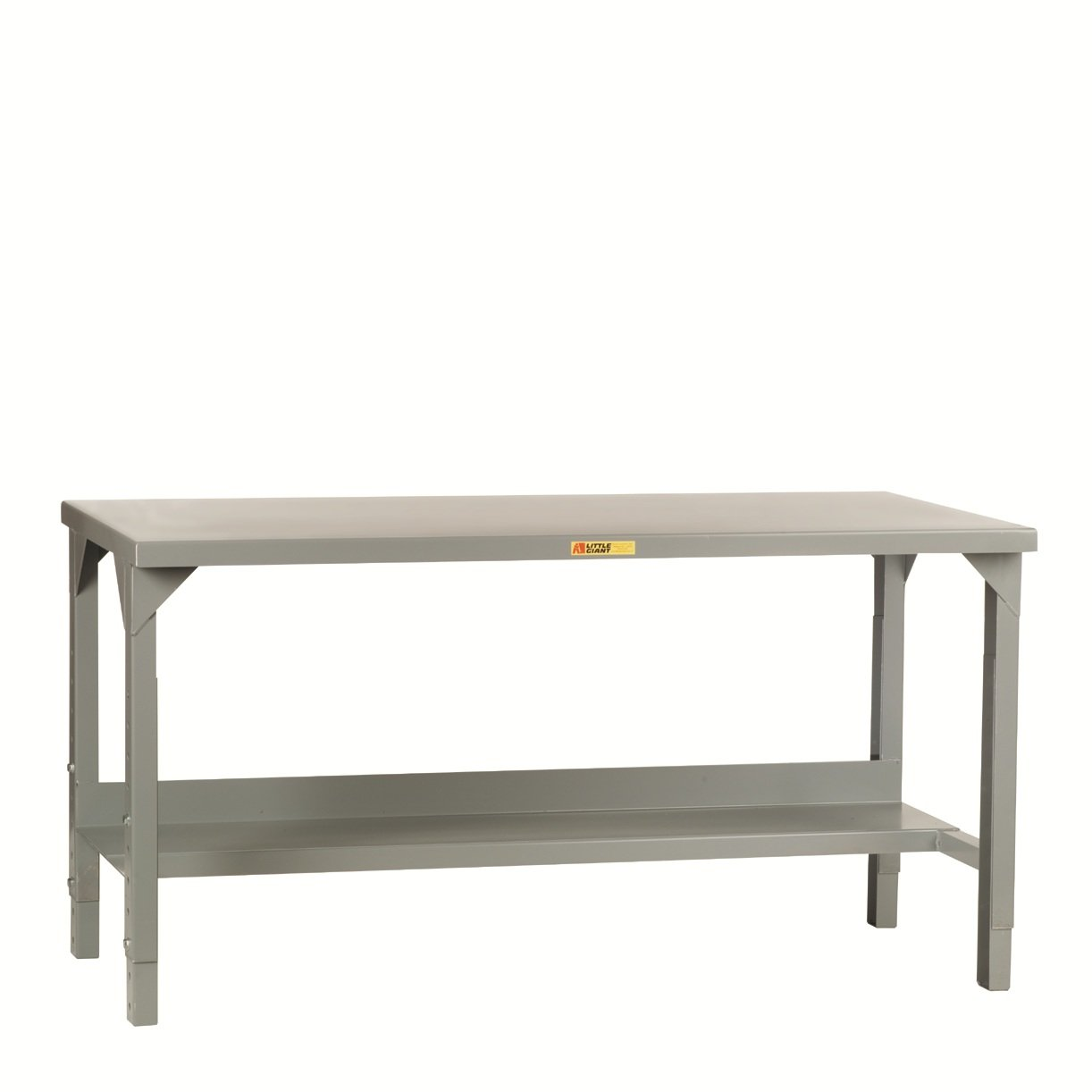 Little Giant WST2-3048-AH Welded Steel Workbench, 5000 lb. Load Capacity, 1 Half-Shelf, 27'' to 41'' Adjustable Height, 48'' x 30'', Gray