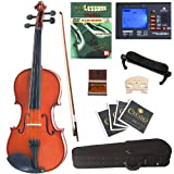 Cecilio CVN-100 Solid Wood Student Violin with Tuner and Lesson Book, Size 1/10