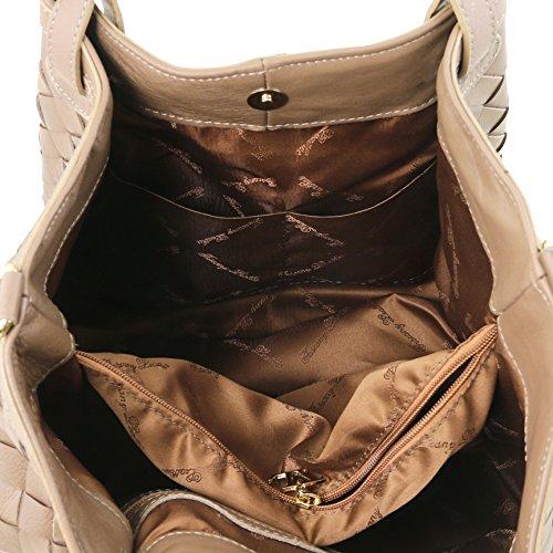 81414294 - TUSCANY LEATHER: TL KEYLUCK - Sac shopping en cuir tressé à main - Grand modèle, Cognac