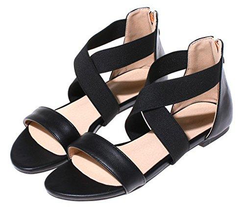 Confortable Elatique Sandales Bout Ouvert Noir Aisun Femme pI1q55