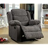 Furniture of America Blake Chenille Recliner Chair, Gray