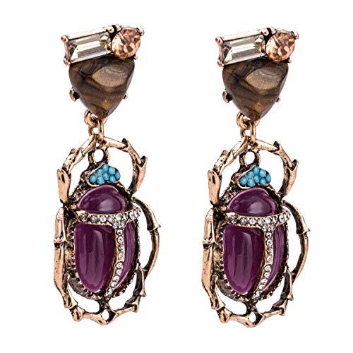 WLLAY Vintage Enamel Bug Insect Beetle Dangle Earrings Charms Crystal Animal Jewelry Gift(Purple) (Scarab Earrings)