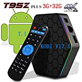 [2017 New Version] Genuine guarantee, sold by LCBOX, Kodi V17.6 T95Z Plus Android 7.1 Bluetooth TV Box Amlogic S912 64 Bits Octa Core and Supporting 4K (60Hz) Full HD /H.265 /WiFi 2.4/5GHz /3GB+32GB /