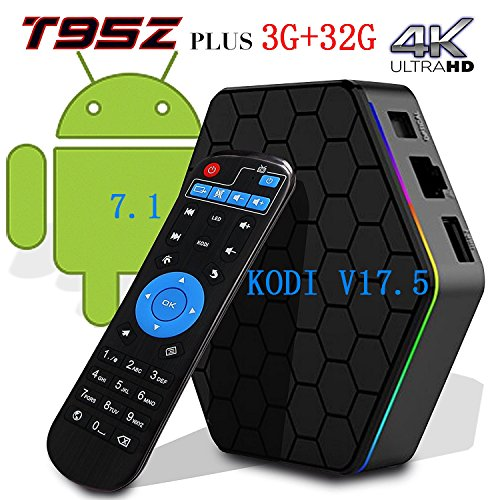 [2017 New Version] Genuine guarantee, sold by LCBOX, Kodi V17.6 T95Z Plus Android 7.1 Bluetooth TV Box Amlogic S912 64 Bits Octa Core and Supporting 4K (60Hz) Full HD /H.265 /WiFi 2.4/5GHz /3GB+32GB / by LCBOX