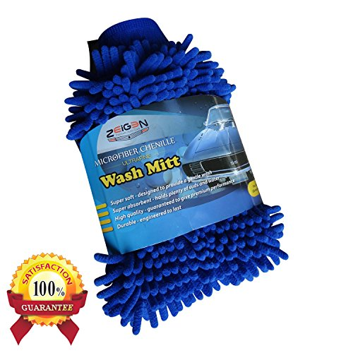 Density Enhancing Shampoo - Zeigen Ultrafine Microfiber Chenille Scratch Free Car Wash Mitt (1 Pack, Blue)