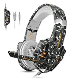 ECOOPRO Gaming Headset for PS4 3.5mm Stereo Noise Isolation Over Ear Headphones LED Lights & In-line Volume Control with Mic Microphone for PS4 PC MAC Laptop Xbox one (Camouflage)