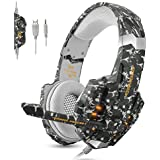 ECOOPRO Gaming Headset for PS4 Xbox One PC, 3.5mm Stereo Game Headphones with Noise Cancelling Mic, LED Light & Soft Memory Earmuffs, Compatible with PC, PS4, Xbox One, Nintendo Switch Computer