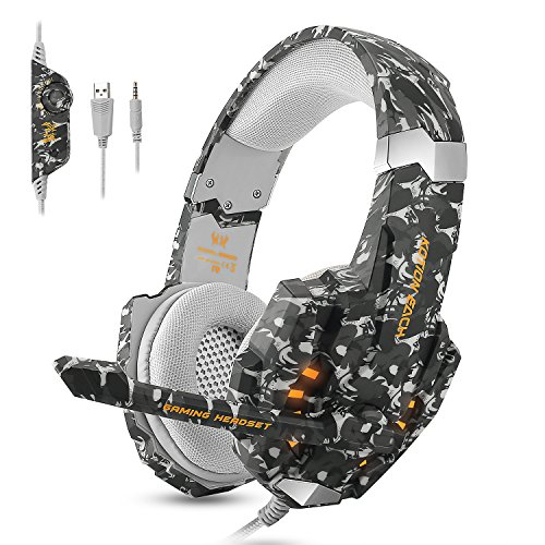 ECOOPRO Gaming Headset for PS4 Xbox One PC, Stereo Gaming Headphones with Noise Cancelling Mic, Bass Surround, LED Light & Soft Memory Earmuffs for PC Mac Nintendo Switch (Camouflage) (He Puts The Lotion On His Skin)