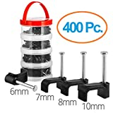 Cable Clips 400 pcs Square Black – 6+7+8+10mm with steel nail By Maximm