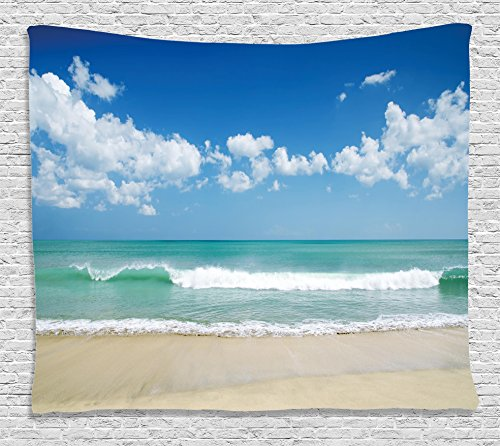 Ambesonne Modern Decor Tapestry by, Sandy Beach with Bright Skyline in the Island Coastal Peaceful Print, Wall Hanging for Bedroom Living Room Dorm, 60WX40L Inches, Turquoise Cream