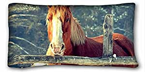Generic Personalized ( Animal Horse ) Soft Pillow Case Cover 20*36 Inch (One Sides)Zippered Pillowcase suitable for X-Long Twin-bed PC-White-18451