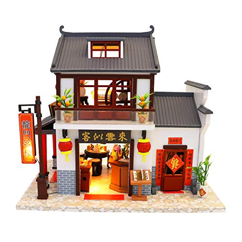 Cool Beans Boutique Miniature DIY Dollhouse Kit Wooden Ancient Chinese Restaurant - Dragon Gate Inn - with Dust Cover - Architecture Model kit (English Manual)