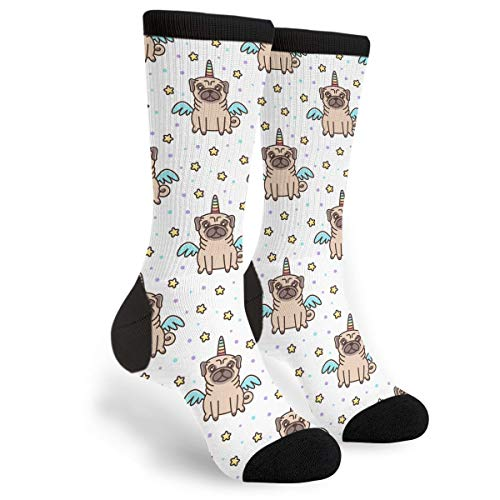 Packsjap Dog of Pug Breed in A Unicorn Costume Men & Women Casual Cool Cute Crazy Funny Athletic Sport Colorful Fancy Novelty Graphic Crew Tube Socks