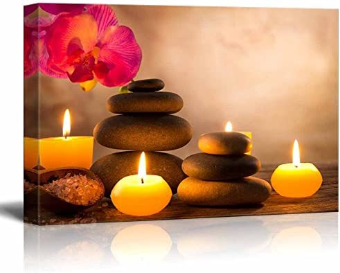 Spa Still Life with Aromatic Candles and Zen Stones Wall Decor