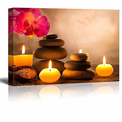 Canvas Prints Wall Art - Spa Still Life with Aromatic Candles and Zen Stones | Modern Wall Decor/Home Decoration Stretched Gallery Canvas Wrap Giclee Print & Ready to Hang - 24