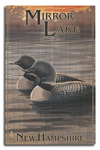 Lantern Press Mirror Lake, New Hampshire - Loon Family (10x15 Wood Wall Sign, Wall Decor Ready to Hang)