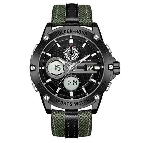 Mens Sports Analog Digital Watches Outdoor Nylon Waterproof Army Watch, Alarm/Timer, Big Face Military Wristwatches for Men with LED Backlight - Black ()