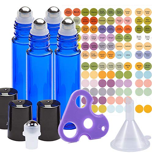 Ultimate Essential Oil Roller Bottles Set with Stainless Steel Balls, 4 Pack 10ml Dark Blue Leakproof Glass Bottle with 5 Rollerballs for Perfume & Aromatherapy Oils 1 Funnel + Opener ()