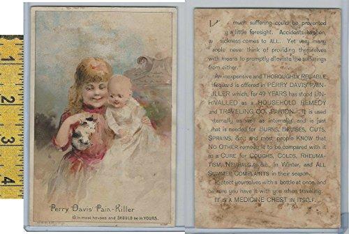 Victorian Card, 1890's, Perry Davis Pain Killer, Children & Kitten