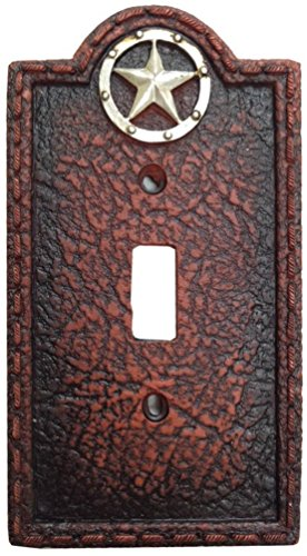 HIE Lone Star Western Leather Grain Look Single Switch Cover -