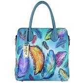 Anuschka Shoulder Handbag - Hand Painted Design on Real Leather - Bundle w Purse Holder